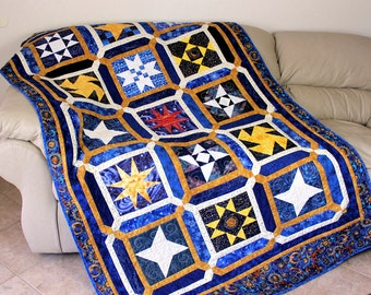 Twin Bed Quilt , Celestial Stars In Blue , Gold and White, Heavenly Stars, Dorm Quilt, Childs Quilt, Blue Gold Quilt, Boys Quilted Blanket