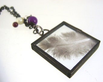 Feather Pendant Spirit Guide Necklace Stained Glass Jewelry Valentines Sisters Mothers Glass Pagan Friendship OOAK