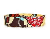 Mod Flower Belt Fabric Belt in Custom Sizes Small Medium Large Preppy D Rings Women's Belt 1.5 inch Width - Red Blue and Yellow Flowers