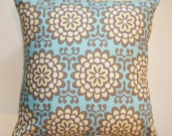 "Throw Pillow Cover, Handmade Decorative Floral Cushion Cover, Wallflower Sky Blue Floral Pillow Cover, Amy Butler Fabric, 16x16"" Square"