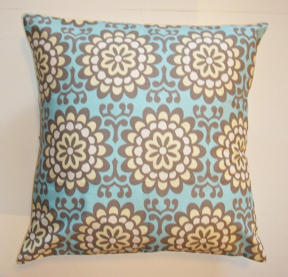 """Throw Pillow Cover, Accent Pillow Cover, Cushion Cover, Pillowcase, Sky Blue Floral Pillow, Wallflower Sky, Amy Butler Fabric, 16x16"""" Square"""