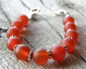 Red Agate Medical ID Bracelet, Frosted Red Alert Bracelet, Sterling Silver Clasp Replacement Bracelet