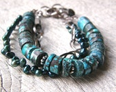 Turquoise and Pearl Multi-Strand Bracelet, Teal and Peacock Blue Gemstone Bracelet, Chunky Statement Bracelet