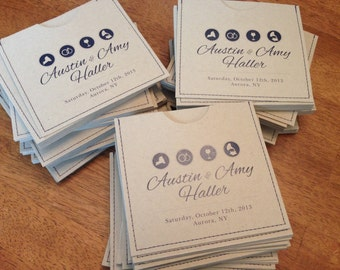 Personalized cd sleeve wedding favor ANY COLOR {pack of 80}