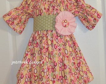 Peasant Dress with matching sash in your choice of size 6-9m, 18-24m, 2t, 3t, 4t, or 5t