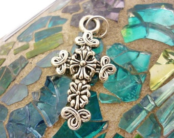 Rustic Celtic design Antique Silver Cross Pendant