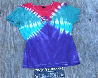 Dimensional Crossings Tie Dye T-Shirt (Silver for Her Rib Knit Size L) (One of A Kind)
