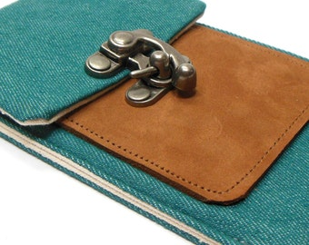 iPhone 5 / 6 / 6 Plus wallet - teal denim