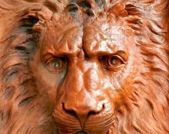 Lion Photography, Lion Art, Architectural Building Detail, Orange Lion Print, Large Art Dorm Decor,Terra Cotta Leo Zodiac Sign,Leo Art Print