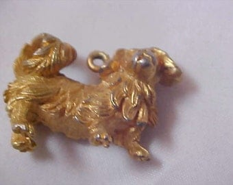 Adorable CHOW Dog Gold Plate Pendant