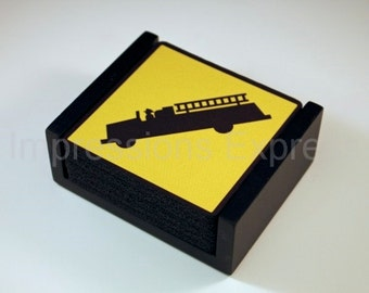 Fire Department Sign Coaster Set of 5 with Wood Holder