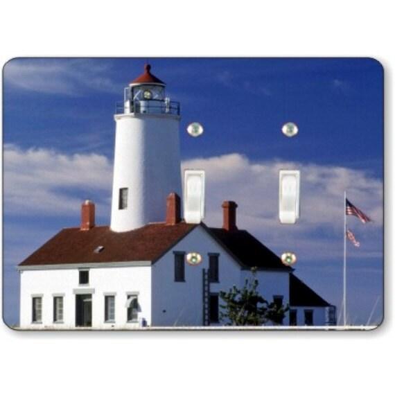 Lighthouse nautical double toggle light switch plate cover for Lighthouse switch plates