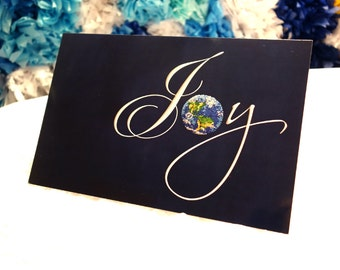 """JOY to the WORLD - Dotted Planet Earth - Large Greeting Art Card 5.5"""" X 8.5"""""""