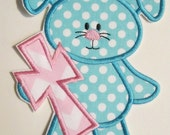 Easter Iron On Applique - Easter Bunny Cross