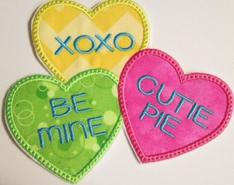 Valentine Day Conversation Hearts - Iron On or Sew On Applique