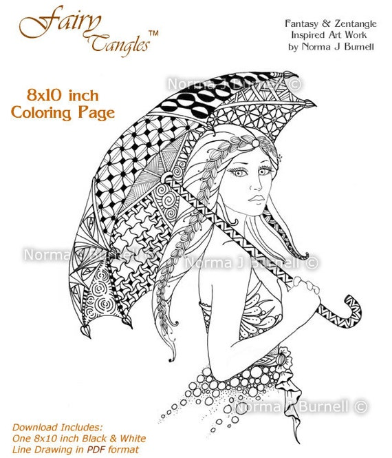 Sunday Stroll Fairy Tangles 8x10 Printable Adult Coloring
