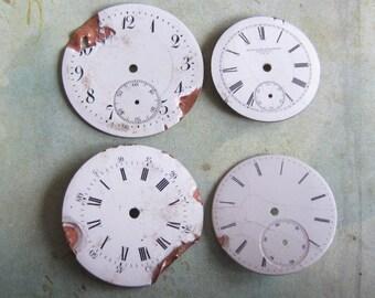 Vintage Antique porcelain pocket Watch Faces - Steampunk - Scrapbooking D5