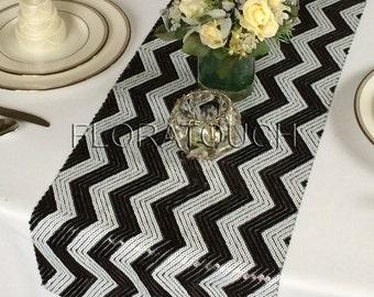 Black and White Chevron Sequin Table Runner Wedding Table Runner