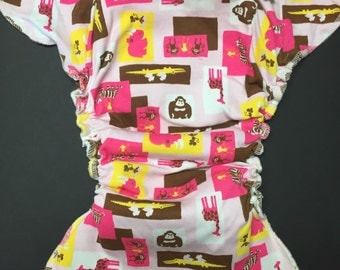 MamaBear One Size Fitted Cloth T-shirt Diaper - Pink Safari