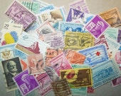US vintage postage stamps - 50 used off paper