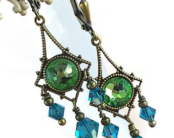Vintage Crystal Earrings,  Chandelier Earrings, Peridot Earrings