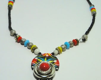Clay, Glass and Metal Colorful Necklace. Hand made and painted.