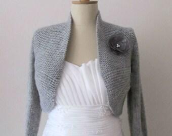 Grey Wedding Bolero Bridal Shrug Plus Size 3/4 Sleeve Hand Knitted  Sweater Knitting shawl Wrap