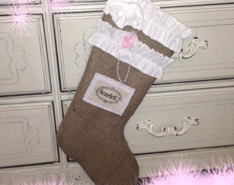 Burlap Christmas Stocking for Little Girl with Custom Name Tag