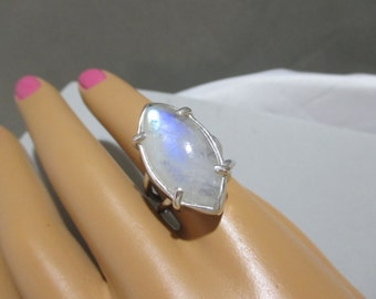 Rainbow Moonstone Marquise Ring Size 7 Sterling Silver