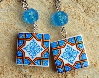 Porto Portugal Antique Tile Replica Earrings - Blue and Brown Geometric - WATERPROOF and REVERSIBLE  318