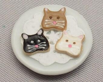 Dollhouse Miniature Cat Cookies on Tiny Ceramic Plate