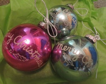 Vintage Shiny Brite set of 3 glass ornaments Merry Christmas vintage images Stenciled