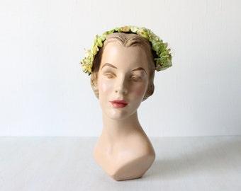 Vintage 1950s Hat / 50s Hat / 50s Green Hat / Fascinator Hat / Half Hat / Sage