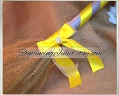 Classic Jump Broom Made in Your Custom Colors with Rhinestone Accent ..shown in silver gray/canary yellow