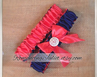 Simple Satin Deluxe Dual Color Bridal Garter Set with Rhinestone Accent..You Choose The Colors..shown in guava coral/navy blue midnight