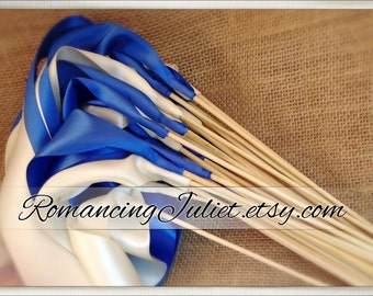 Instead of Rice Jumbo Ribbon Streamer Sticks..PACK OF 50...You choose the Ribbon Color..shown in royal blue/ivory