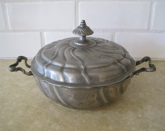 Antique German Swiss Pewter Lidded Handled  Bowl Ore Angel Michael With Scales Mark