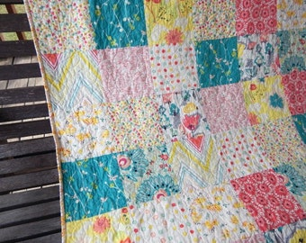 Minky Toddler Quilt, Rapture, Girl, PLUSH for baby, Granny Chic in Modern fabrics baby bedding