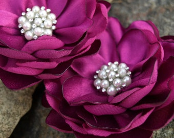 Fuchsia Colored Flower Hair Pins - Brooches - Corsage Set of 2