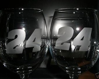 Set Of 2 Jeff Gordon Nascar Wine Glasses
