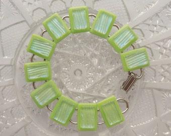 Dichroic Fused Glass Bracelet - Green Bracelet - Hippie Jewelry - Glass Jewelry - Dichroic Jewelry - Fused Glass - Charm Bracelet X3888
