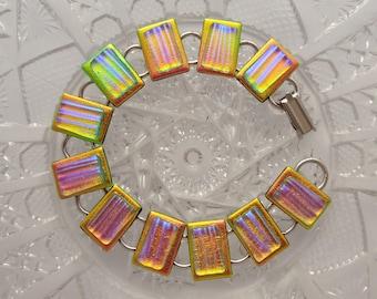 Fused Glass - Pastel Bracelet - Hippie Jewelry - Dichroic Fused Glass Bracelet - Glass Jewelry - Dichroic Jewelry -  Charm Bracelet X4802