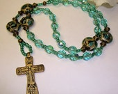 Anglican Rosary, Protestant Rosary, Teal Glass with tortoise colored lamp work beads