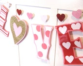 giant LOVE Valentines Day Banner - gold glitter, pink, stripes, polka dots, hearts