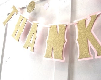 THANK YOU Banner, Wedding Photo Prop Banner, Gold Thank You Garland, Gold and Pink Thank You Banner, Pink And Gold Thank You Banner