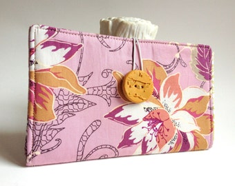 Tampon and Pad Holder in Lavender Purple Dahlia Flower Handmade Privacy Wallet - Dahlia