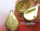 Brass tear drop rose locket - 2 pcs (LT-012)