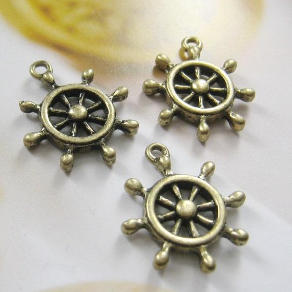 23x20mm - antique brass wheel charms/pendant - 10 pcs (CM044)