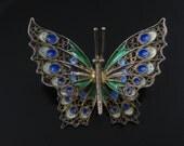 Brooch Pin, Filigree Sterling Silver, Vintage, Colorful Enamel, Fancy Butterfly, Vermeil Golden Silver, 925