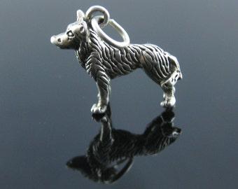 Vintage 3D Dog Sterling Silver Charm